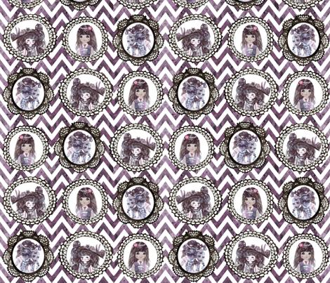 watercolor wonderland girls cameo chevron fabric by katarina on Spoonflower - custom fabric