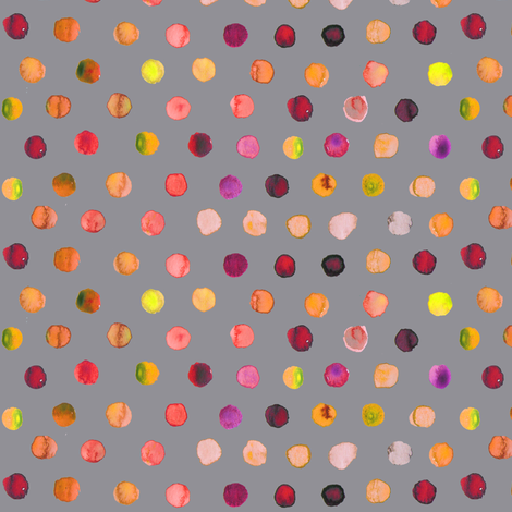 watercolor dots autumn on grey fabric by katarina on Spoonflower - custom fabric