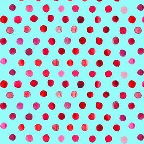 watercolor dots red on aqua