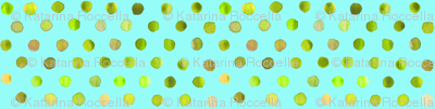 watercolor dots lime on aqua