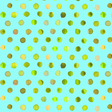 watercolor dots lime on aqua fabric by katarina on Spoonflower - custom fabric
