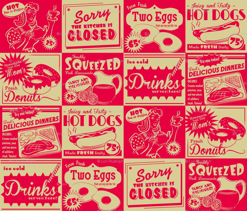 Retro Kitchen Advertising Wallpaper Retrorudolphs Spoonflower