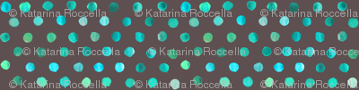 watercolor dots teal on brown