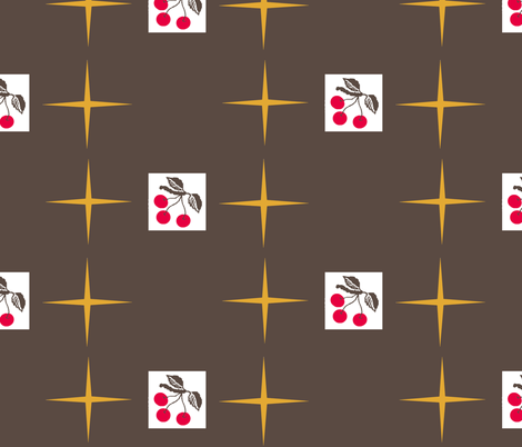 cherry retro /star fabric by paragonstudios on Spoonflower - custom fabric