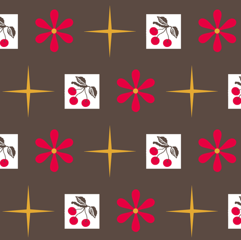 cherry retro/ flora fabric by paragonstudios on Spoonflower - custom fabric