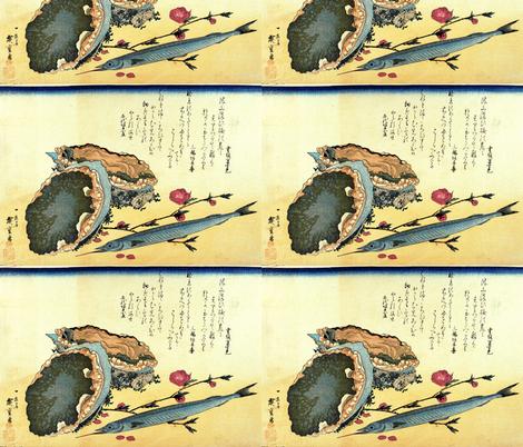 Sayori & Awabi or tokobushi (Japanese halfbeak and Abalone) - Hiroshige's Colorful Japanese Fish Print fabric by zephyrus_books on Spoonflower - custom fabric