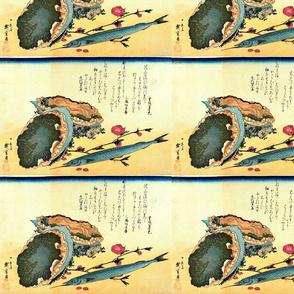 Sayori & Awabi or tokobushi (Japanese halfbeak and Abalone) - Hiroshige's Colorful Japanese Fish Print