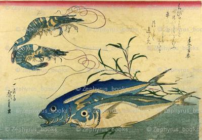 Aji or muroaji or maaji & Ebi (Horse Mackerel and Shrimp or Prawn) - Hiroshige's Colorful Japanese Fish Print