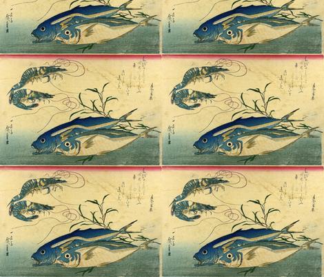 Aji or muroaji or maaji & Ebi (Horse Mackerel and Shrimp or Prawn) - Hiroshige's Colorful Japanese Fish Print fabric by zephyrus_books on Spoonflower - custom fabric