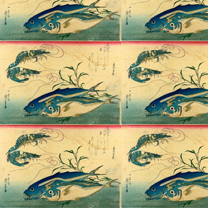 Aji or muroaji or maaji & Ebi (Horse Mackerel and Shrimp or Prawn) - Hiroshige's Colorful Japanese Fish Print