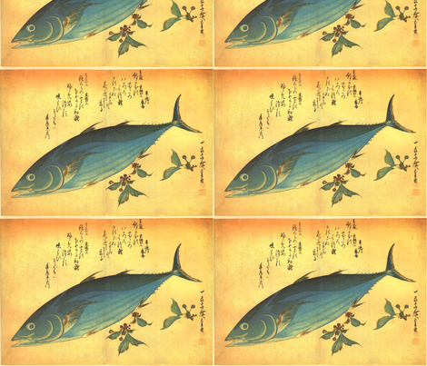 Katsuo - Hiroshige's Colorful Japanese Fish Print fabric by zephyrus_books on Spoonflower - custom fabric