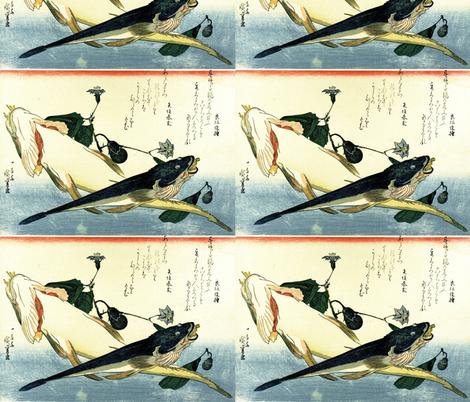 Kochi (Bartail flathead) with flowering eggplant - Hiroshige's Colorful Japanese Fish Print fabric by zephyrus_books on Spoonflower - custom fabric