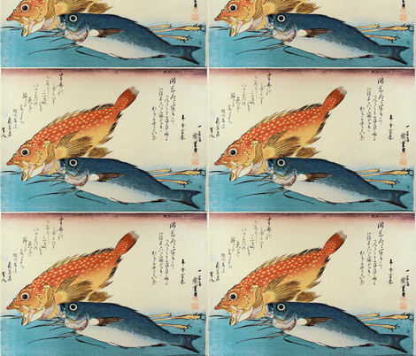 Kasogo & Himedai (Marbled Rockfish and Snapper) with ginger shoot - Hiroshige's Colorful Japanese Fish Print fabric by zephyrus_books on Spoonflower - custom fabric