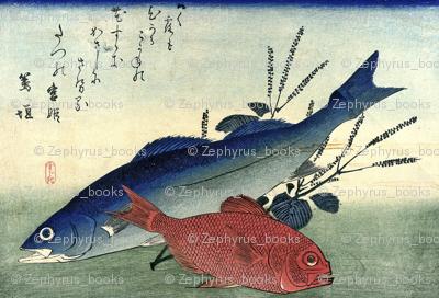 Suzuki & Kimmedai (Sea Perch and Alfonsino) with shiso plant - Hiroshige's Colorful Japanese Fish Print