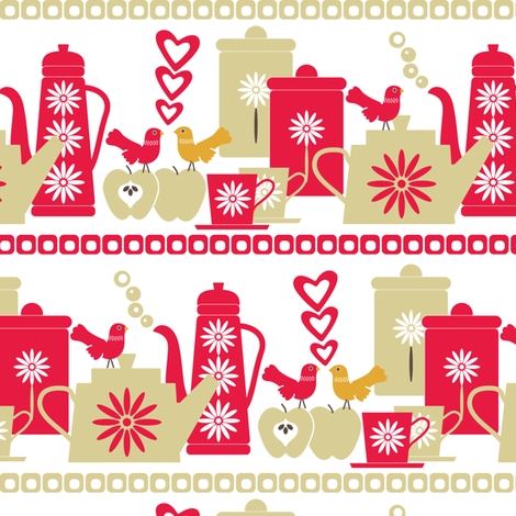 Feathered friends in the kitchen fabric by ebygomm on Spoonflower - custom fabric