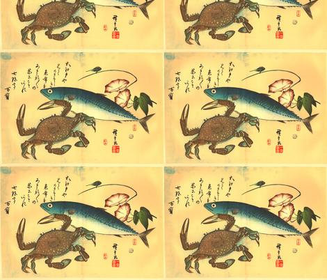Kani or Kegani & Saba (Crab and Mackerel) with morning glory - Hiroshige's Japanese Fish Print fabric by zephyrus_books on Spoonflower - custom fabric