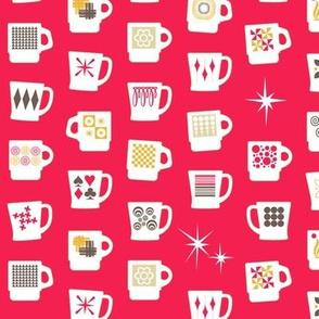 King of Cups (Cinnamon Dolce) || vintage coffee mugs retro kitchen geometric milk glass midcentury modern atomic