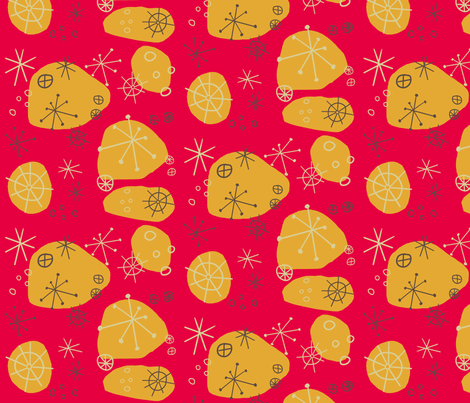 Atomic Fallout - Cranberry fabric by brightonbelle on Spoonflower - custom fabric