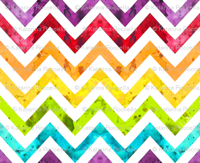 watercolor chevron rainbow larger scale