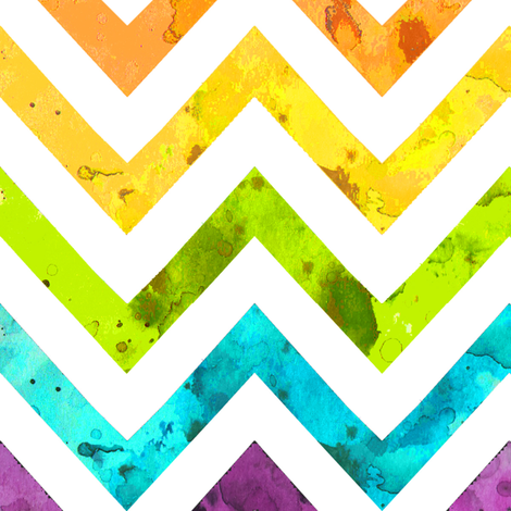 watercolor chevron rainbow larger scale fabric by katarina on Spoonflower - custom fabric