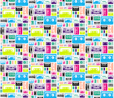 Mix Tapes (Midi) || retro 70s 80s cassette music rock and roll collage vintage analog fabric by pennycandy on Spoonflower - custom fabric