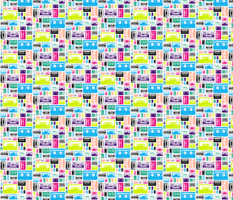 Mix Tapes (Mini) || retro 70s 80s cassette music rock and roll collage vintage analog fabric by pennycandy on Spoonflower - custom fabric