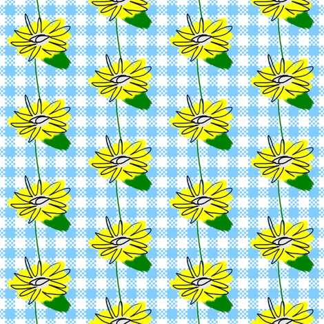 Small Dandelion Flowers on Gingham fabric by fig+fence on Spoonflower - custom fabric