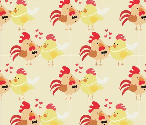 Farm Wedding Bride & Groom Chicken Rooster fabric by pippiphooray on Spoonflower - custom fabric