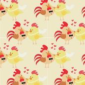 Farm Wedding Bride & Groom Chicken Rooster