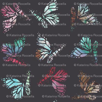 watercolor butterflies dark