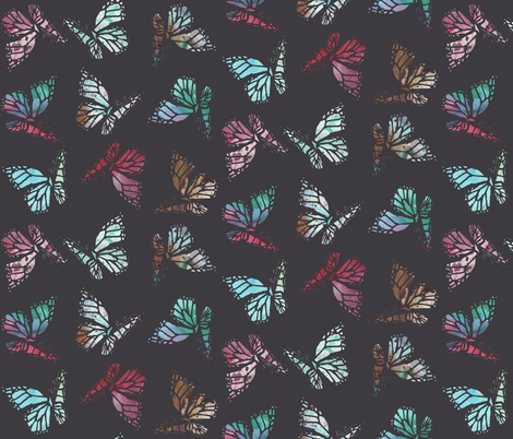watercolor butterflies dark fabric by katarina on Spoonflower - custom fabric