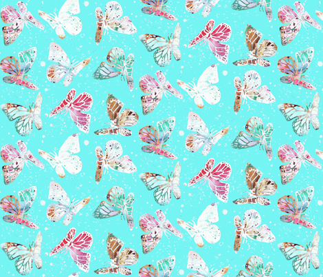 watercolor butterflies with dots fabric by katarina on Spoonflower - custom fabric