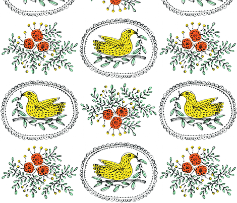 Birds & Roses fabric by yellowstudio on Spoonflower - custom fabric