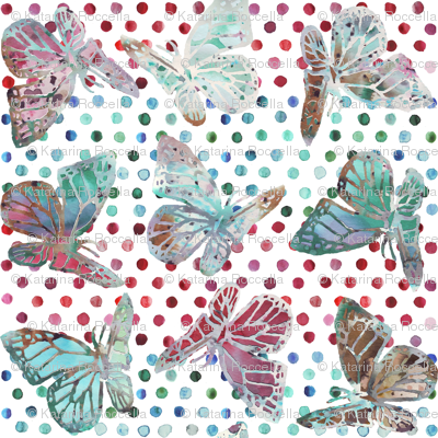 watercolor butterflies with dots on white