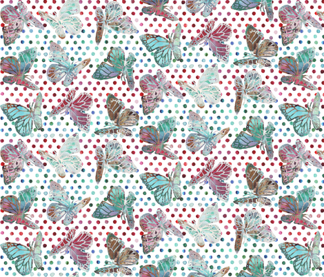 watercolor butterflies with dots on white fabric by katarina on Spoonflower - custom fabric