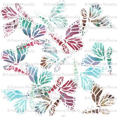 watercolor multi butterflies white