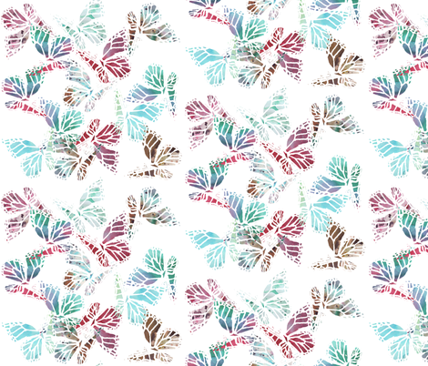 watercolor multi butterflies white fabric by katarina on Spoonflower - custom fabric