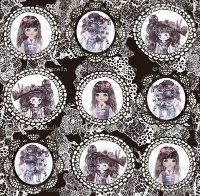 watercolor wonderland girls cameo on lacy background