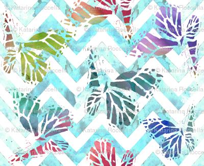 watercolor butterflies on aqua chevron