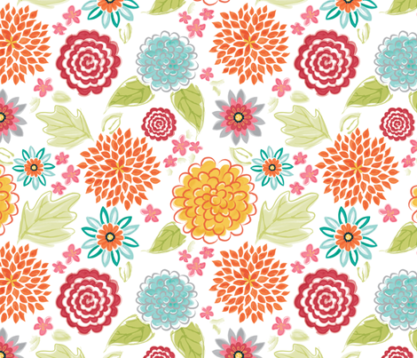 Bloomsburst_WatercolorHalfSize fabric by leona_j_designs on Spoonflower - custom fabric