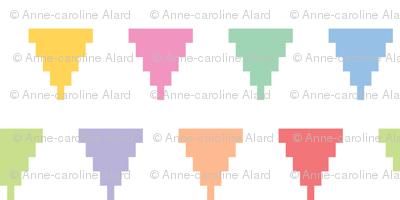 Pixelated multicolored triangles
