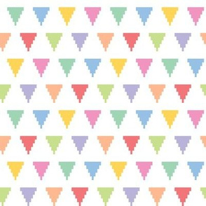 Pixelated multicolored triangles