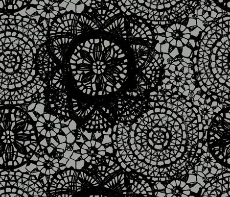 doilies black fabric by katarina on Spoonflower - custom fabric