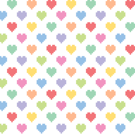 Pixelated multicolored hearts fabric by petitspixels on Spoonflower - custom fabric