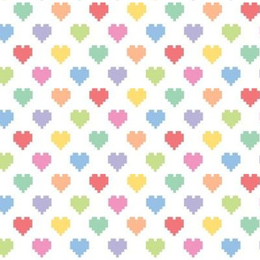 Pixelated multicolored hearts
