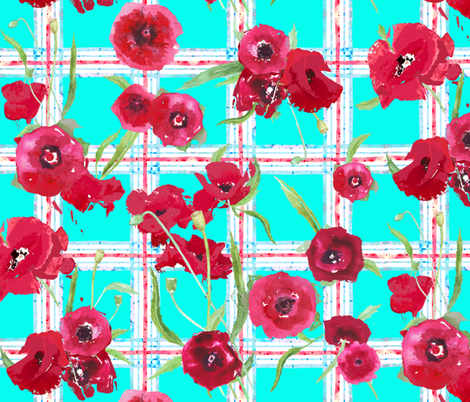 watercolor poppies on plaid in aqua, red and white fabric by katarina on Spoonflower - custom fabric
