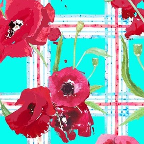watercolor poppies on plaid in aqua, red and white