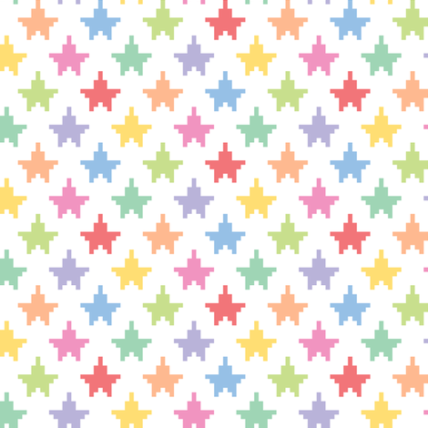 Pixelated multicolored stars fabric by petitspixels on Spoonflower - custom fabric