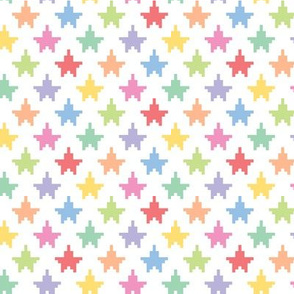 Pixelated multicolored stars