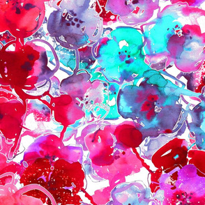 watercolor floral large purple pink aqua